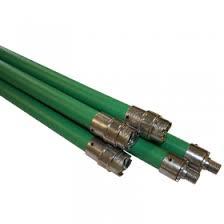 Flexibele veegstok Groen met schroefdraad 100cm lang ( Prof )