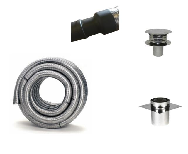 Compleet Flexibele rookkanaal Houtkachel 100 mm met verloop naar pelletpijp ( 6 + meter )