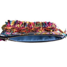 Clutch Ibiza style with flowers and fringes