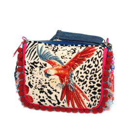 Parrot crossbody with pompons and fringe