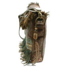 Boho crossbody bag army green canvas fringed