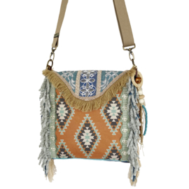 Boho crossbody in Navajo style with fringe and old jeans