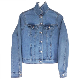 Embellished denim jacket Indian silk flower patch