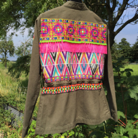 Embellished denim jacket khaki neon India trim