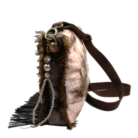 Crossbody bag western style with brown with fringe