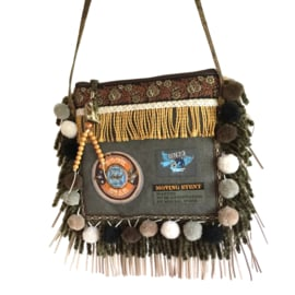 Festival purse with patches and pompons