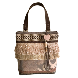 Tote handbag brown boho with flowers and fringes