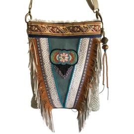 Crossbody bag native American inspired fringes