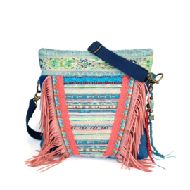 Ibiza crossbody pink and pastels with fringe