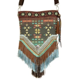 Crossbody with long fringe in Aztec style brown turquoise