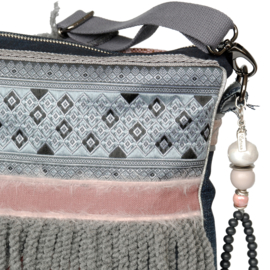 Boho crossbody with flowers in grey and pink