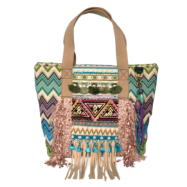 Tote handbag Ibiza boho style colored with fringes