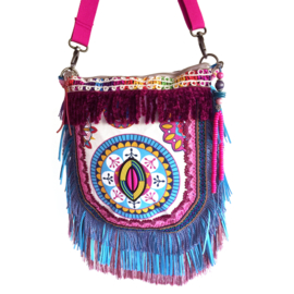 Ibiza crossbody bright colored with fringe and patches