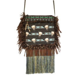 Festival purse bull heads with long fringe in brown