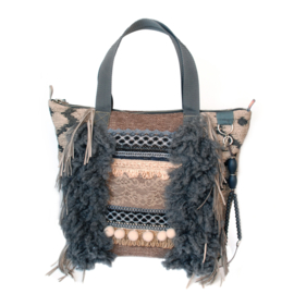 Tote handbag western style beige grey with fringes
