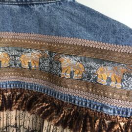 Embellished denim jacket with elephants and leopard print