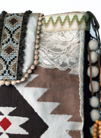 Crossbody Navajo style brown cream with fringes