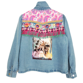 Embellished denim jacket in Ibiza style light blue with Indian head