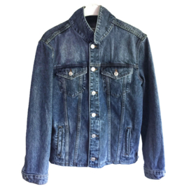 Embellished denim jacket blue and white with fringe