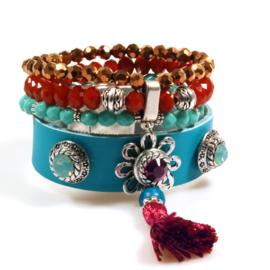 Ibiza boho bracelet turquoise and red leather  and beads with Swarovski