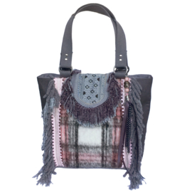 Tote handbag checkered in pink and grey fabric