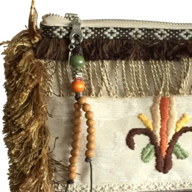 Festival purse in brown and cream embroidered with flower