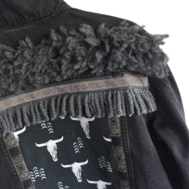 Embellished denim jacket black with bull heads
