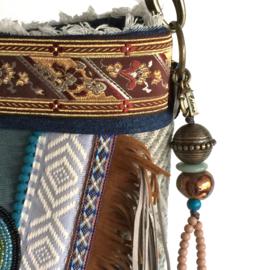 Schoudertas Indianen stijl met franje en patch