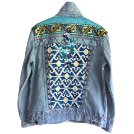 Embellished denim jacket turquoise yellow boho style