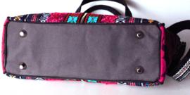 Boho handbag Aztec style in fuchsia turquoise