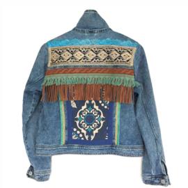 Embellished denim jacket boho western brown turquoise