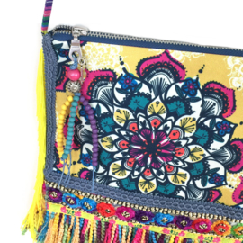 Gypsy festival purse yellow and multi colored with long fringe