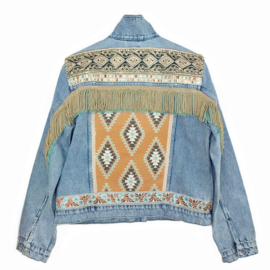 Embellished jean jacket Navajo style with fringe and trims