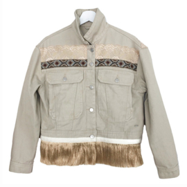Embellished denim jacket khaki with long fringe and shells