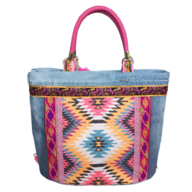 Big tote handbag Ibiza style bright colored fabric