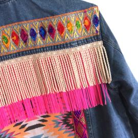 Embellished denim jacket Ibiza style in bright colors