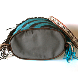 Bucket bag boho in brown turquoise with fringe