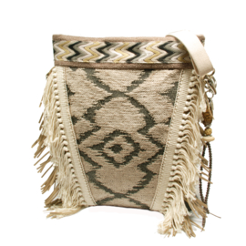 Crossbody bohemian Navajo style with fringes in cream