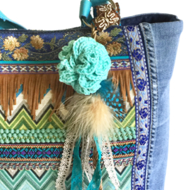 Tote handbag jeans Ibiza style in turquoise