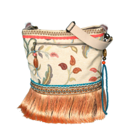 Hippie crossbody with flowers and long fringes