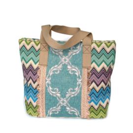 Tote handbag Ibiza boho style colored with fringes
