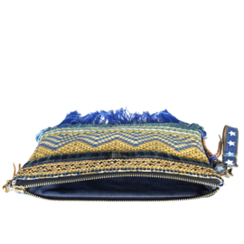 Boho clutch in blue and ocher yellow with fringe