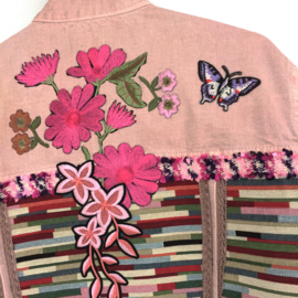 Embellished denim jacket pink with flowers and butterflies