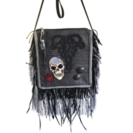Skull festival purse black with fringe and feathers