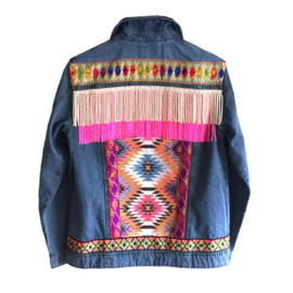 Embellished denim jacket Ibiza style in bright colors