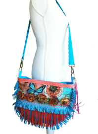 Hippie crossbody with flowers in red turquoise