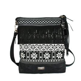 Nordic crossbody bag black white fringes