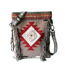 Crossbody Navajo style red brown with fringe