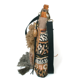 Brown crossbody with animal prints and fringes
