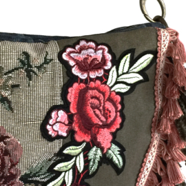 Hippie crossbody bag with flower patch and fringes